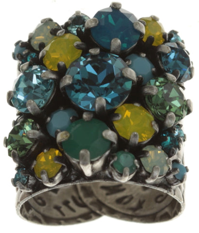 ring Ballroom blue/yellow antique silver