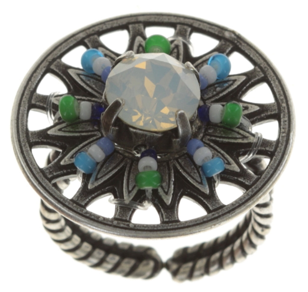 ring Dream Catcher green/white/blue antique silver small