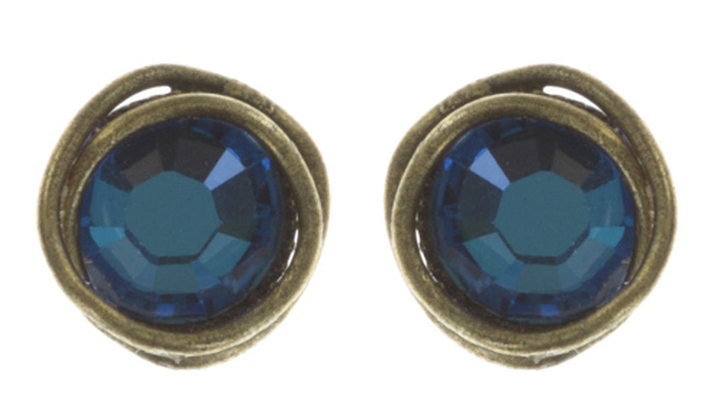 earring stud Sparkle Twist blue antique brass