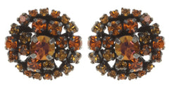 earring stud Ballroom orange antique silver
