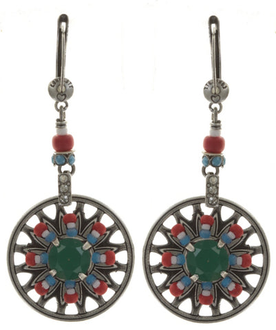 earring dangling Dream Catcher multi antique silver small