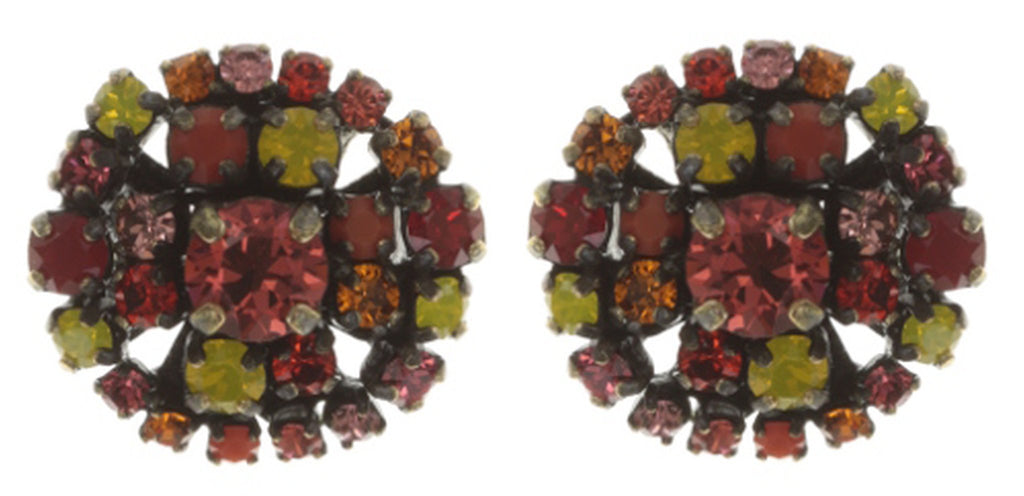 earring stud Ballroom coralline/red/yellow antique brass