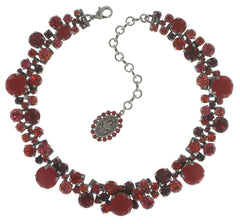 necklace choker Ballroom Classic Glam red antique silver