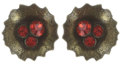 earring stud Samurai Bloom pink/red antique brass no. 1