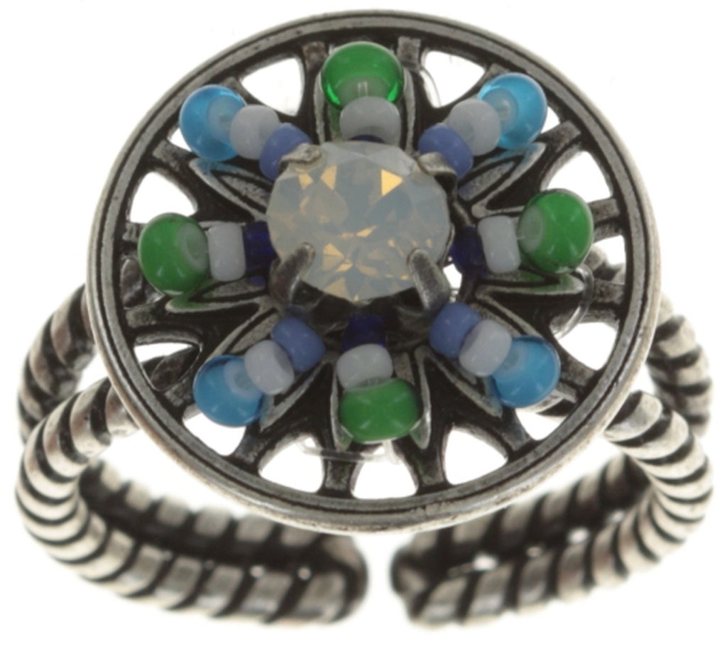 ring Dream Catcher green/white/blue antique silver smallest