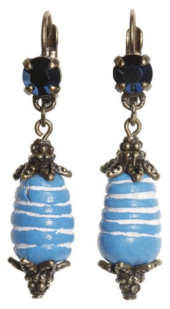earring eurowire dangling Ab Originum blue antique brass