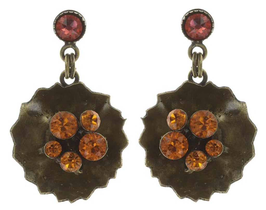 earring stud dangling Samurai Bloom pink/red antique brass no. 4