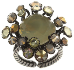 ring Caviar de Luxe brown antique silver 14mm