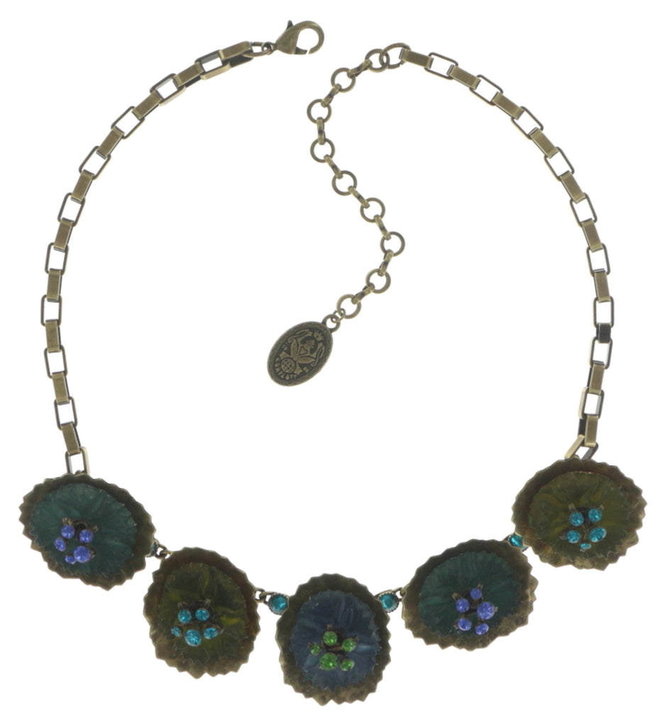 necklace Samurai Bloom blue/green antique brass no. 5