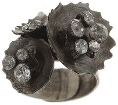 ring Samurai Bloom brown antique silver no. 2, 3 & 4