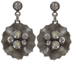 earring stud dangling Samurai Bloom brown antique silver no. 4