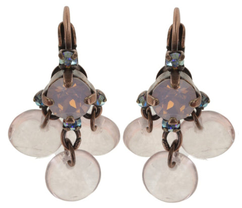 earring eurowire dangling Aquarell pink antique copper