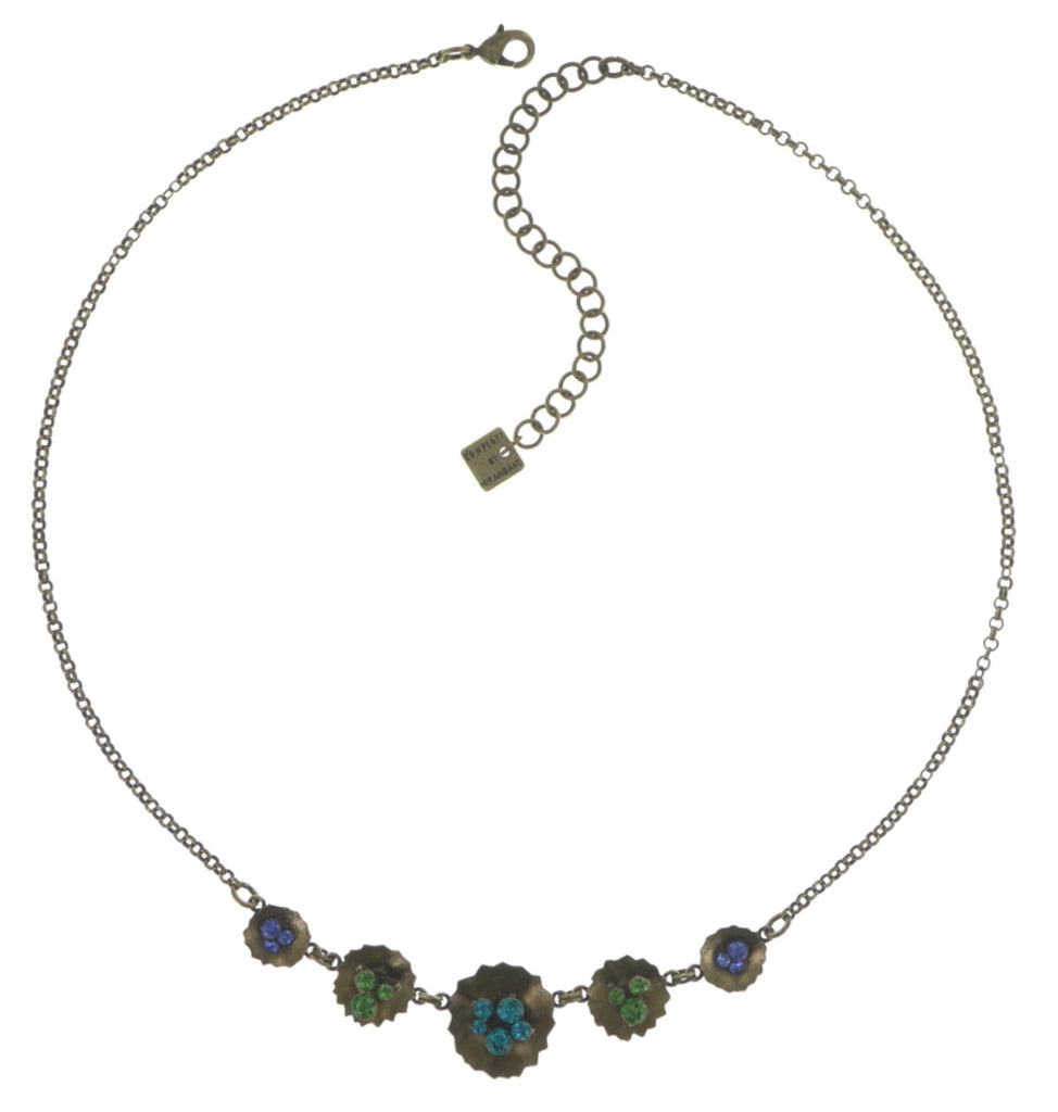 necklace Samurai Bloom blue/green antique brass no. 2, 3 & 4