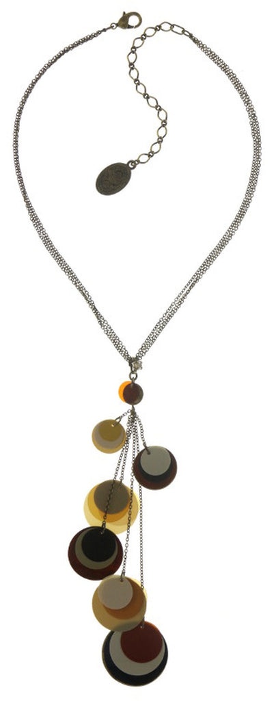 necklace-Y Lollipop beige/brown Antique Brass Light