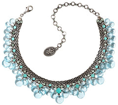 necklace choker Aquarell blue antique silver