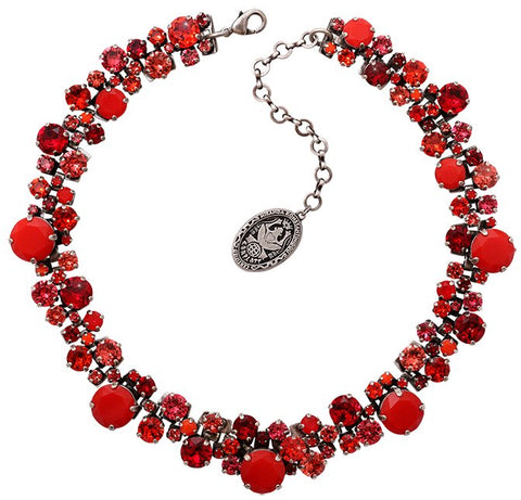 necklace collier Ballroom Classic Glam red antique silver