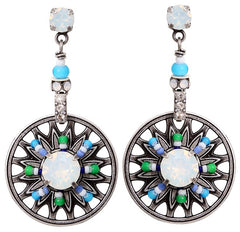 earring stud dangling Dream Catcher green/white/blue antique silver small