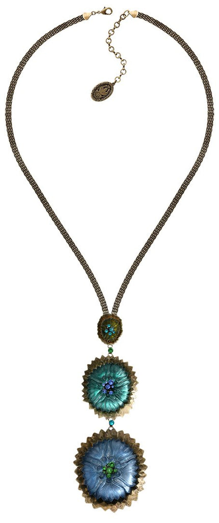 necklace-Y Samurai Bloom blue/green antique brass no. 5, 8 & 9