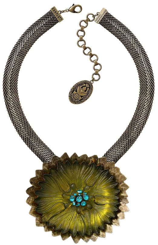 necklace pendant Samurai Bloom blue/green antique brass no. 10