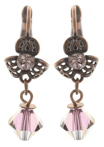 earring eurowire dangling Nostalgia beige antique copper