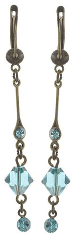 earring dangling Nostalgia light blue antique brass