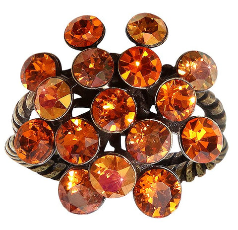 ring Magic Fireball orange antique brass