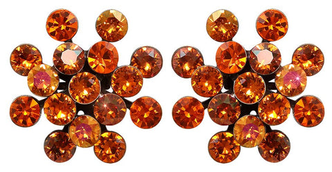 earring stud Magic Fireball orange antique brass