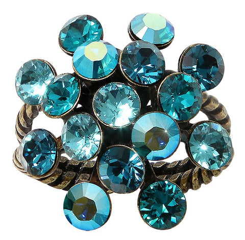 ring Magic Fireball dark blue antique brass