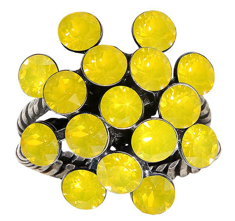 ring Magic Fireball yellow antique silver