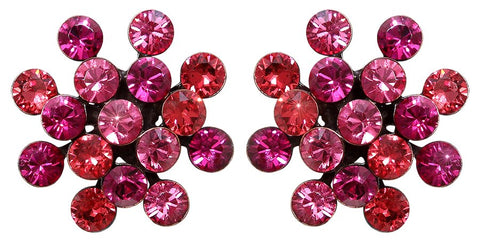 earring stud Magic Fireball coralline/dark rose antique copper