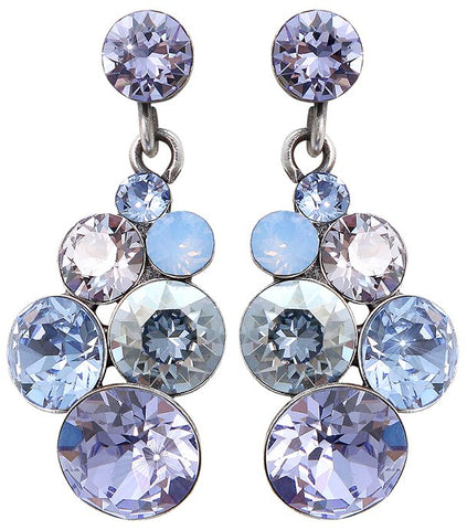 earring stud dangling Petit Glamour blue/lila antique silver