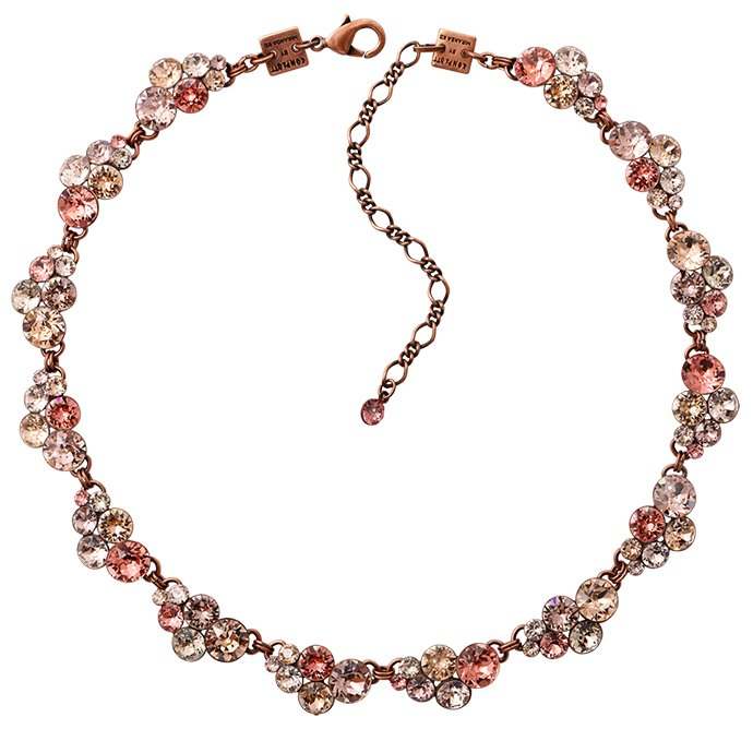 necklace collier Petit Glamour beige/pink antique copper