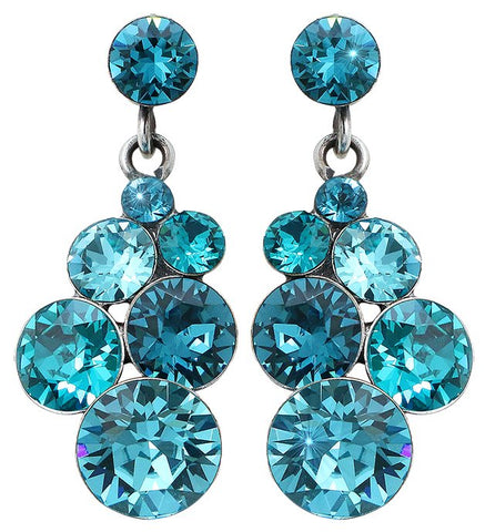 earring stud dangling Petit Glamour blue antique silver