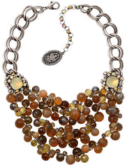 necklace collier Caviar de Luxe brown antique silver