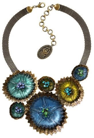 necklace collier Samurai Bloom blue/green antique brass