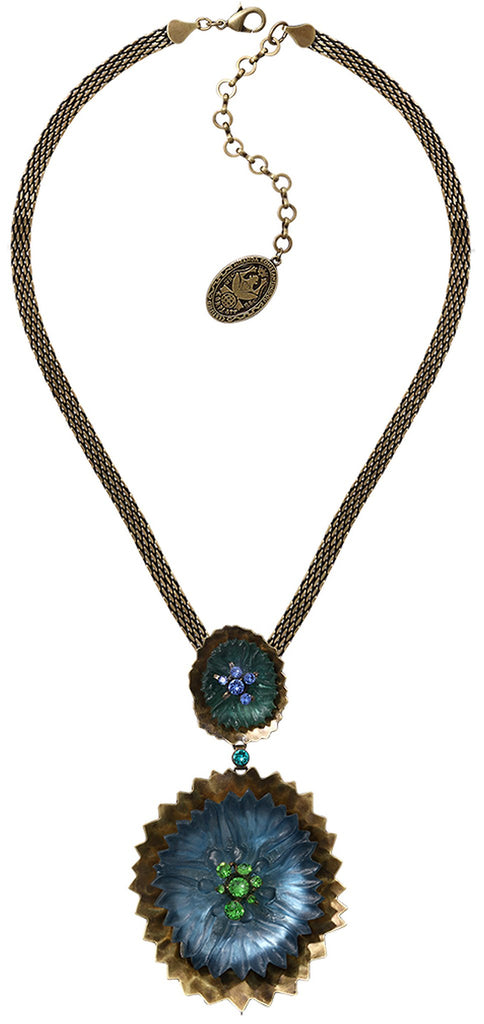 necklace-Y Samurai Bloom blue/green antique brass no. 5 & 8