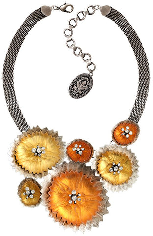 necklace collier Samurai Bloom brown antique silver