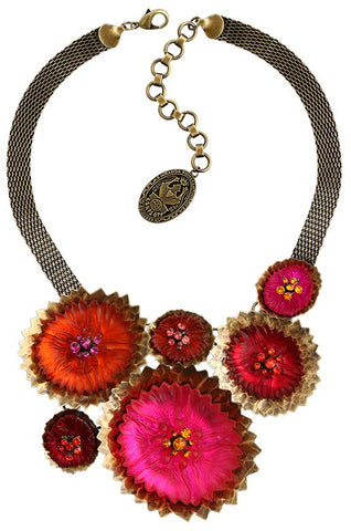 necklace collier Samurai Bloom pink/red antique brass