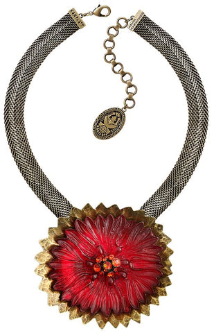 necklace pendant Samurai Bloom pink/red antique brass no. 10