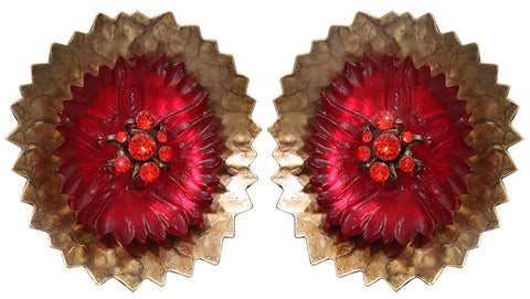 earring eurowire Samurai Bloom pink/red antique brass no. 7