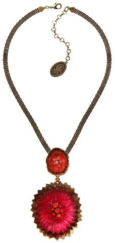 necklace-Y Samurai Bloom pink/red antique brass no. 5 & 8