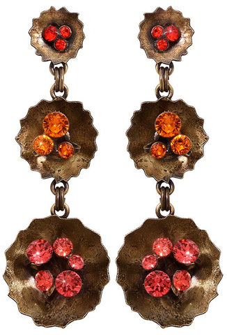 earring stud dangling Samurai Bloom pink/red antique brass no. 1, 3 & 4