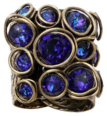 ring Sparkle Twist blue/lila antique brass