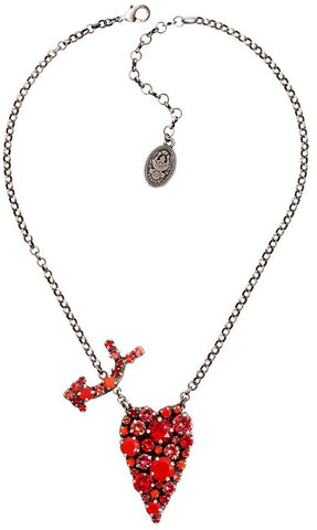 necklace pendant You Missed It red antique silver