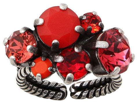 ring Ballroom red antique silver