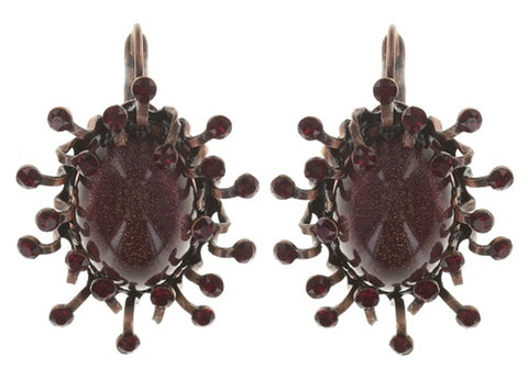 earring eurowire Galaxy in Glass red antique copper medium