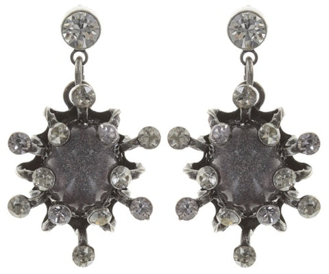 earring stud dangling Galaxy in Glass white/grey antique silver small