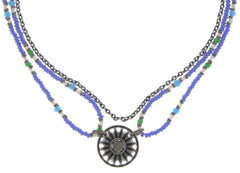 necklace Dream Catcher green/white/blue antique silver extra small