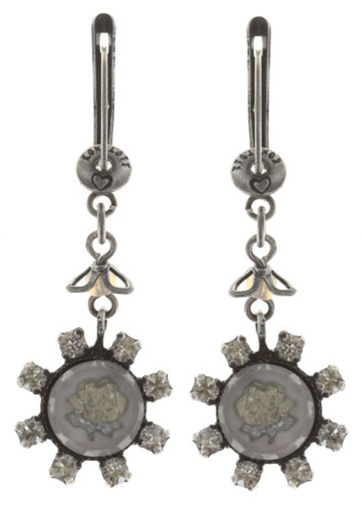 earring dangling Forget Me Not white antique silver