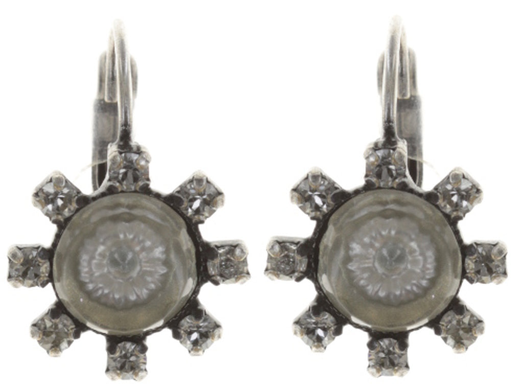 earring eurowire Forget Me Not white antique silver
